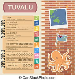 Tuvalu infographics, statistical data, sights Octopus Vector...
