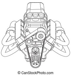 Hot Rod Engine - Schematic drawing of Hot Rod Engine Vector...