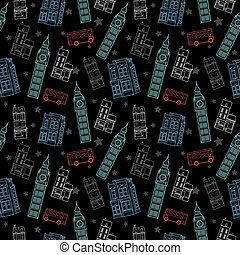 Vector London Symbols Black Seamless Pattern With Big Ben Tower, Double Decker Bus, Houses and Stars.