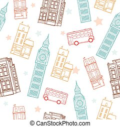 Vector London Streets Colorful Seamless Pattern With Big Ben Tower, Double Decker Bus, Houses and Stars.