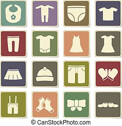 Baby clothes simply icons