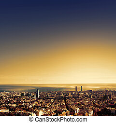 Barcelona - a bird view over city Catalonia, Spain -...