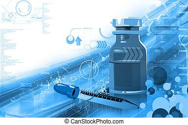 bottle and filler - Illustration of a medicine bottle and...