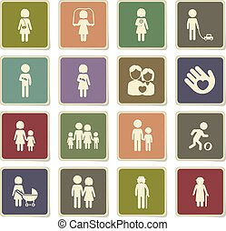 Family simply icons - Family vector icons for web sites and...