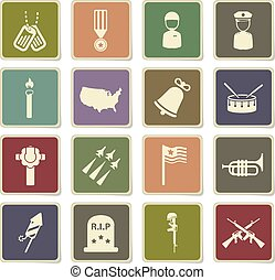 Memorial day simply icons - Memorial day vector icons for...