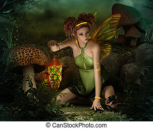 Elven Light, 3d CG - 3d computer graphics of a fairy with...