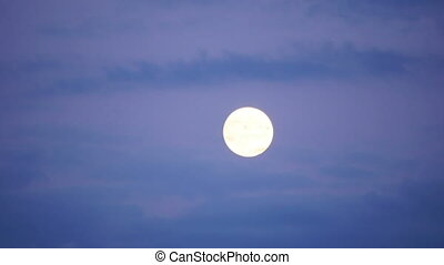 quot;full moon timelapse with clouds at twilight, zoom in,...