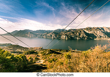 Lake Garda seen from the top station of the cableway. - Lake...
