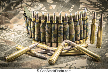 camouflage ammunition belt - hollow-point ammunitions and...