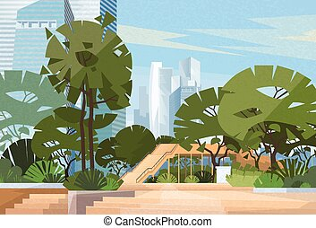 Green Park City Center Trees Vector Illustration