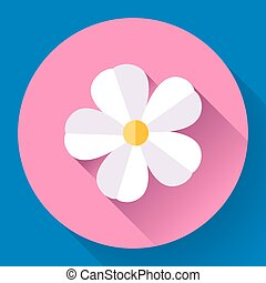 Frangipani flower icon Nature symbol - Vector - White cute...