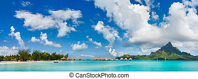 Bora Bora landscape - Panorama of stunning beach and...