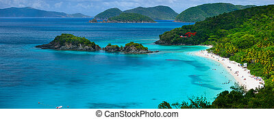 Trunk bay on St John island, US Virgin Islands - Panorama of...