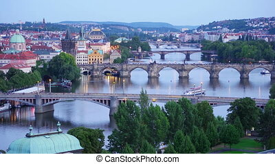 """prague view, bridges over danube river, zoom in, timelapse,..."