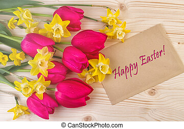 Spring Flowers Happy Easter - Cheerful Spring Flowers Easter...
