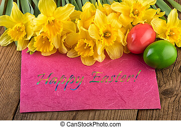 Yellow daffodil flowers text Happy Easter card - Yellow...