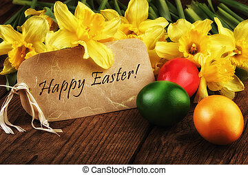 Yellow daffodils flowers text Happy Easter card sunlight...