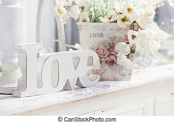 decoration table with flowers, valentines day
