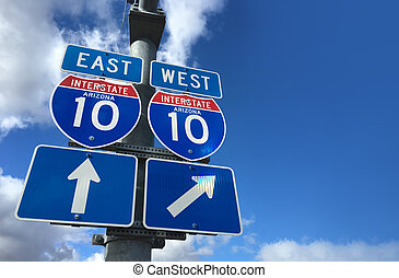 Arizona I10 East West Highway direction signs with copy...