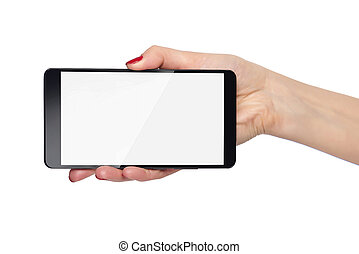 Hand holding smartphone. - Hand holding smartphone with...