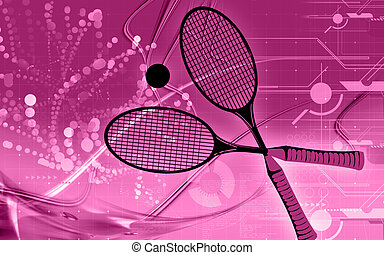 Floor - A tennis racket and ball placed in a floor