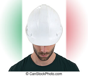 Engineer with flag on background - Italy
