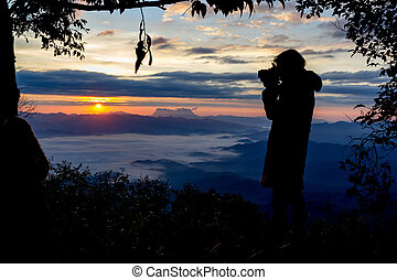 Photographer Camera Shooting Silhouette Outdoors Concept...