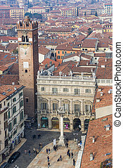 Aerial view of Piazza delle Erbe - View of Piazza delle Erbe...