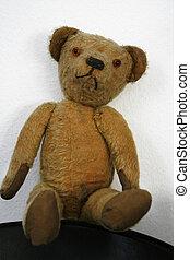 Old stuffed Teddybear rag doll - Old stuffed and sewn...