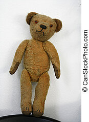 Old stuffed Teddybear rag doll - Old stuffed and sewn...