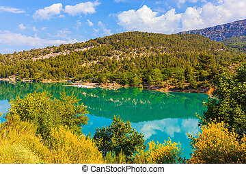 Mountain canyon Verdon in the Alps - Smooth water of the...