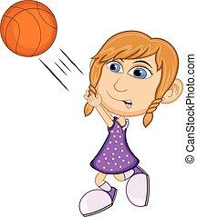 Girl playing basketball cartoon