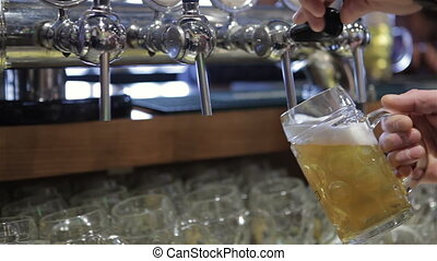 Pouring fresh beer