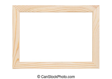 wooden picture frame - natural wooden picture frame isolated...