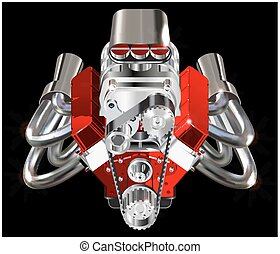 Hot Rod Engine - Detailed illustration of Hot Rod Engine...
