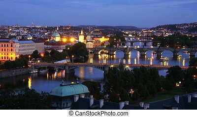 quot;prague view, bridges over danube river, zoom in,...