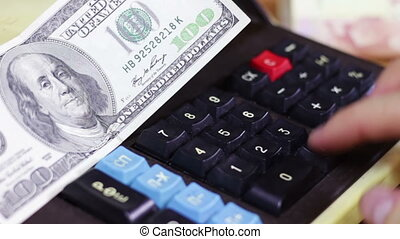 Financial Calculation Money On a Vintage Calculator -...