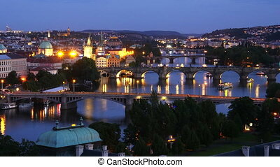 """prague view, bridges over danube river, zoom out,..."