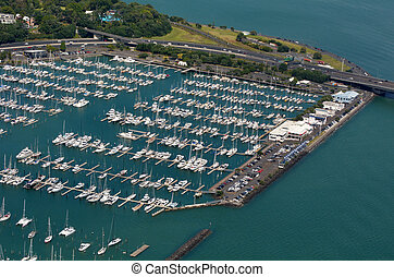 Aerial view of Westhaven Marina in Auckland waterfront, New...