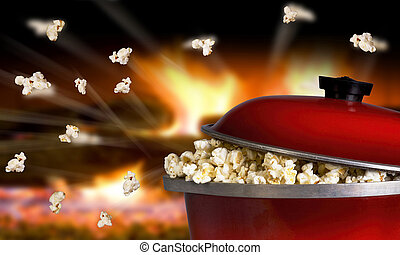 Popcorn Flying - Popping popcorn the old fashion way in a...