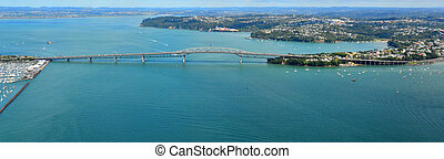 Aerial view of Auckland harbour bridge - AUCKLAND - JAN 31...