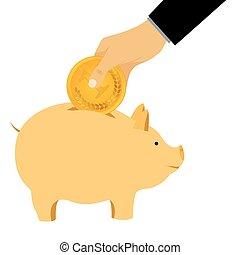 Hand omit a coin in a piggy bank Thrift-box, money box