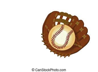 Baseball glove with ball card
