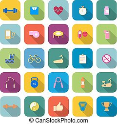Fitness color icons with long shadow