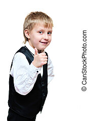 thumb up - elegant little boy showind thumb up over the...