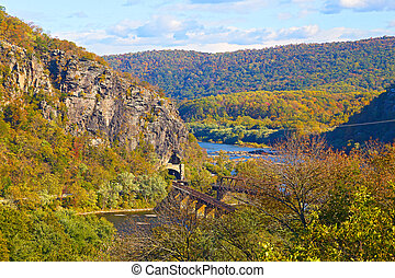 Aerial view on railroad tunnel - The historic town of...