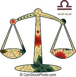 Libra zodiac sign retro - vector illustration of Libra...