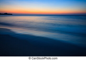 Minimalistic seascape at twilight long exposure