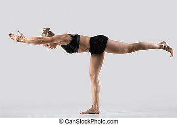 Virabhadrasana 3 Pose - Sporty beautiful young woman...
