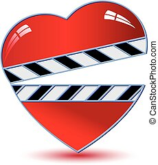 Clapper board with heart Vector
